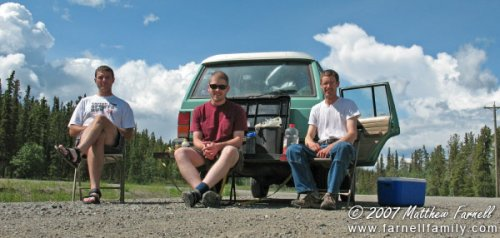Eating lunch just outside of Whitehorse, Yukon Territory, Canada.