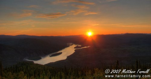 Sunset above Dawson City, Yukon.