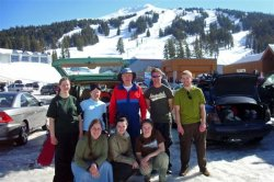 Group picture after a fun day of spring skiing.