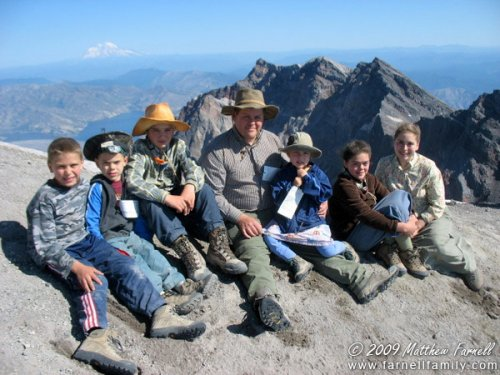 David and Kids on Mt. St. Helens